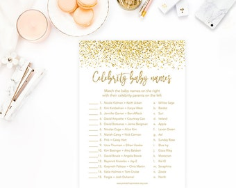 Celebrity Baby Names, Gold Confetti Baby Shower Game, Gold Glitter Baby Shower Game, - INSTANT DOWNLOAD