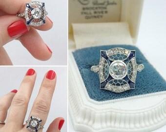 1930s platinum diamond and sapphire nautical theme dinner ring, so special!!