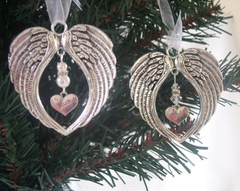 Memorial Christmas Decoration - Angel Wing with Swarovski Crystals