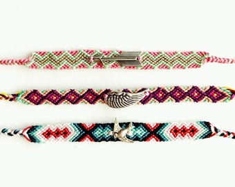 Woven Friendship Charm Bracelet (your pick) - Arrow, Wing, or Sparrow