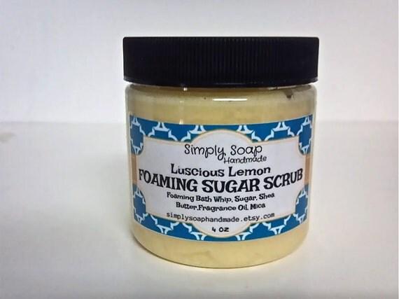 Sugar Scrub,Foaming Sugar Scrub,Shea Butter Scrub,Exfoliating Soap,Lemon Sugar Scrub,Lemon Scent,Exfoliating,4 oz Sugar Scrub