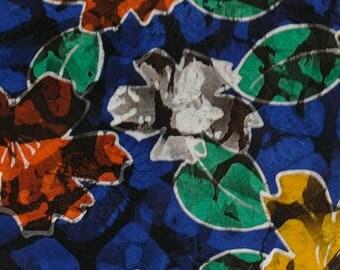Vintage Japanese Silk Kimono Fabric Vibrant Blooms