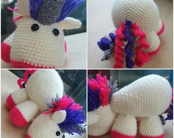 Crochet Colorful Unicorn Plush