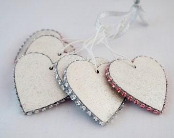 Heart Hangings, Christmas Decorations,  Heart Decorations, Christmas Ornament, Sparkly Decoration, Silver Decor