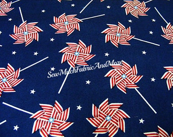 Patriotic Pinwheels Fabric~by the 1/2 yard~Red White & Blue~Springs Creative~CP56689