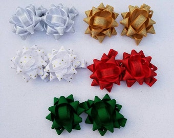 Christmas Present Bows, Hair Clips, Christmas, Gift, Bow, Piggies, Gift, Stocking Stuffer, Handmade, Choose 1 or buy all,