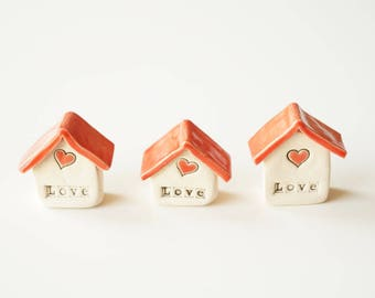 Miniature Ceramic Houses, Set of 3, Miniature House, Tiny House, Ceramics and Pottery