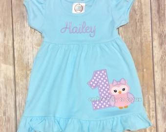 Birthday Dress, Girl's Owl Birthday Ruffle Dress, Girls Birthday Dress, Owl Birthday Shirt, Girls Birthday Dress, Girls Birthday Outfit