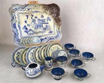 Vintage tin Blue Willow doll tea set, vintage doll tea set, early doll tea set, tin doll dishes