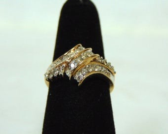 Amazing Womens Vintage Estate 10K Yellow Gold & Diamond Ring 3.9g #E2961
