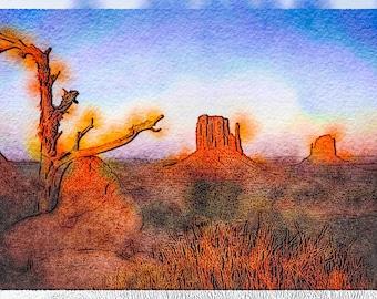 Tree Pointing Toward Arizona Buttes at Sunset: A Fine Art Photo Watercolor/Illustration Print