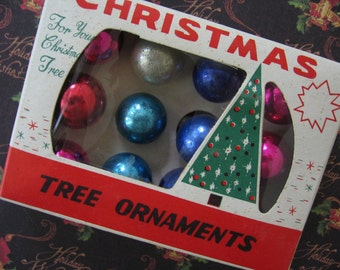 Vintage Christmas Tree Ornaments One Dozen 20mm Glass Balls in Vintage Box, Various Colors - 1950's