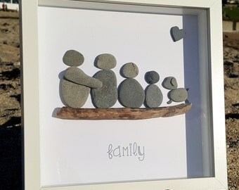 Family of 4 plus a dog - Cornish Pebble Art Picture