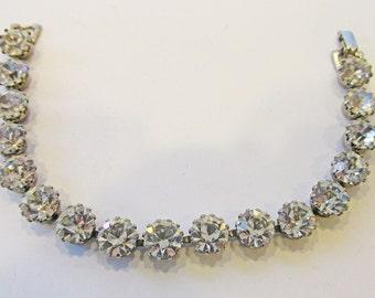 Shimmering Vintage 1950s Signed Judy Lee Rhodium Plated Clear Rhinestone Bracelet
