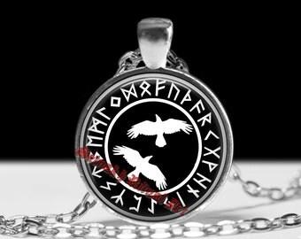 Viking necklace, Huginn and Muninn, Odin's ravens pendant, viking necklace, norse amulet, nordic jewelry, pagan, magic, norse mythology #454
