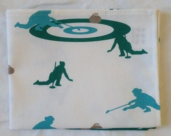 Curling rink tea towel - blue and green colours - curling tea towel - curling kitchen towel - in 100% cotton