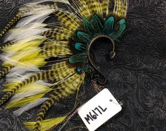 OOAK Tribal Feathered Ear Cuff // Burning Man // Festival // Belly Dance // Gypsy // Steampunk //Incognito M617L