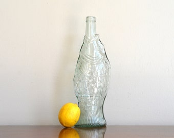 Vintage Clear Glass Fish Bottle Fish Vase Coastal Nautical Rustic Seaside Cottage Decor