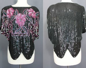 80's Sequined Top.......Black And Pink Floral Sequined Silk Disco party Top