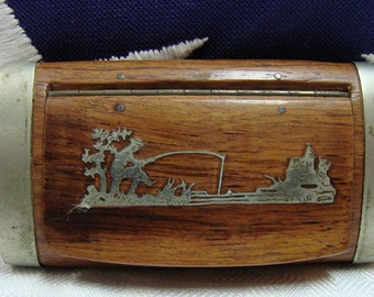 Antique Snuff Box - Wood And Sterling Snuff Box - Inlayed Fishing Scene