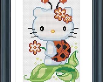 Buy 2 Get 1 Free, Hello Kitty Ladybug, Cross Stitch Pattern, PDF Digital Format