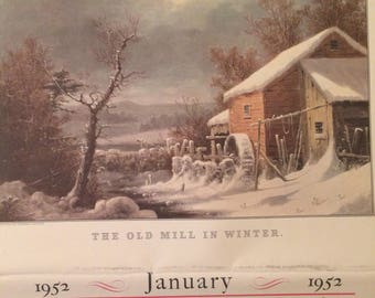 1952 January and April Calendar, Currier & Ives, Durrie, Travelers Hartford Connecticut, 1950's Calendar, January Calendar, April Calendar