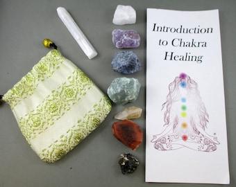 Raw Crystals Chakra Set with Selenite - Energy Healing, Spiritual Stones, Chakra Kit, Meditation Crystal, Chakra Heal Crystal & Stone (T089)