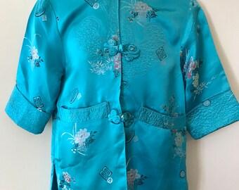 Vintage Japanese Toddler Child's Turquoise Silk Kimono Costume