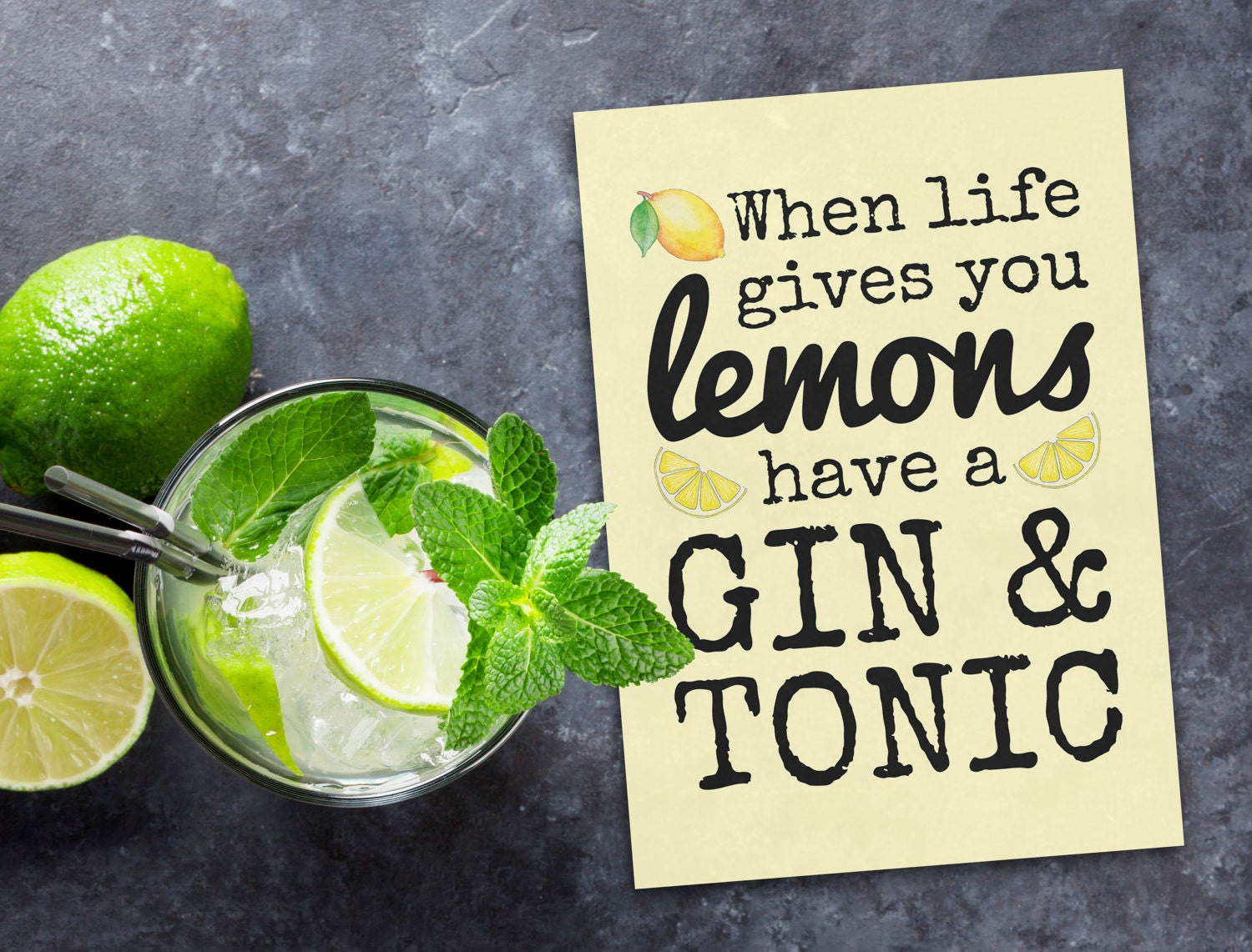 Greeting Card When Life Gives You Lemons Have A Gin