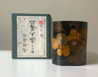 Small Vintage Japanese Lacquer Container Resin Flowers