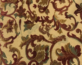 Red - Green - Vining - Floral - Upholstery Fabric By The Yard