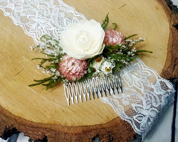 Ivory, green and blush pink rustic woodland HAIR COMB