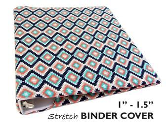 "School Binder, College Binder Cover SOUTHWEST DIAMONDS for 1""-1.5"" Wide 3 Ring Binder, Recipe Book Binder, Recipe Binder, Planner Binder"