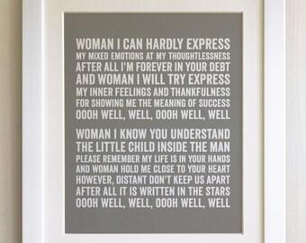 FRAMED Lyrics Print - John Lennon, Woman - 20 Colours options, Black/White Frame, Wedding, Anniversary, Valentines, Fab Picture Gift