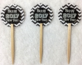 Set Of 12 Happy New Year 2017  Cupcake Toppers (Your Choice Of Any 12)