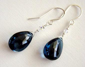 London Blue Earrings, London Blue Topaz Drop Earrings, Blue Topaz Silver Earrings