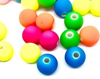 25 acrylic beads, neon, 8 mm