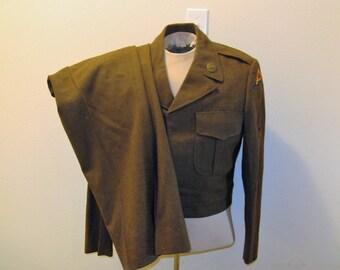 SALE-->Vintage 1940's WW2 US Army Uniform Ike Jacket, Trousers, Pyramid Patch, 7th Army, WW2 re-enactor