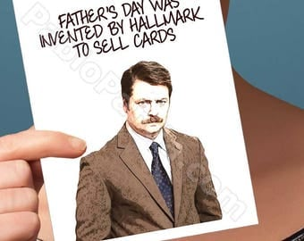 Funny Fathers Day | Ron Swanson | Tom Haverford Aziz Ansari Fathers Day Card Funny Father Card Funny Dad Card Gift For Dad Fathers Day Gift