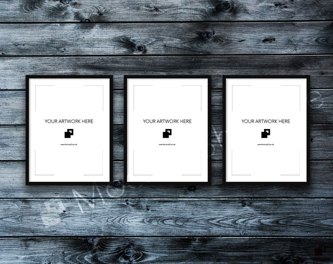 11x14 Set of 2 FRAME MOCKUP BLACK / Styled Photography Poster Mockup, old wooden dark grey wall, Framed Art, Instant Download / Frame Mockup