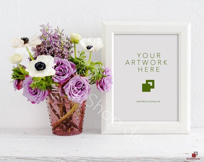SPRING MOCKUP FRAME vertical / spring flowers / valentines day / white empty frame mockup / flower frame mockup / roses  vertical frame