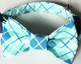 Blue and Green Argyle Bow Tie Collar for Dogs or Cats