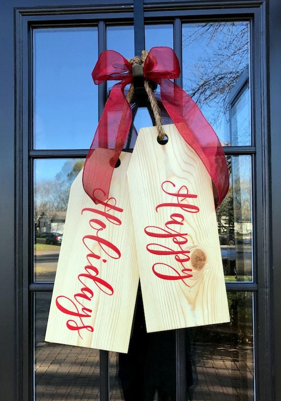 Large Wood Door Tags Door Hanger Happy Holidays Hand