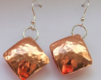Copper Pillow Earrings with Silver findings