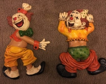 Vintage clown wall hanging