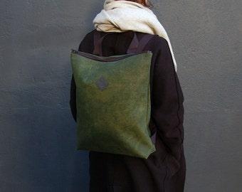 """vegan backpack """"woods"""", cork backpack dark green, green backpack, cork bag, vegan bag, cork leather, vegan leather, camel leather"""