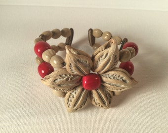 Vintage Nut Shell Flower Bracelet