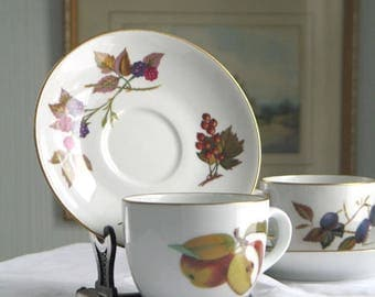 Pair of Royal Worcester Evesham Gold Cups and Saucers