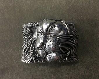 Italian Designed Belt Buckle, Lion Head Design