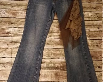 Size 11 Gypsy Cowgirl Jeans / Boho Jeans / Upcycled Jeans / Shabby Chic Jeans / French County Chic / Upcycled Clothing / Eco Clothing /
